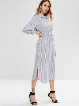 Yes Fall and Spring Striped 3/4 Shirt Mid-Calf Shirt Straight Casual and Day Casual Striped Belted Side Slit Dress