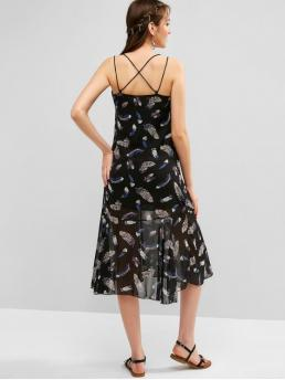 No Summer Nonelastic Feather Criss-Cross Sleeveless Spaghetti Mid-Calf A-Line Vacation Fashion Feather Print Strappy Criss Cross Cami Dress
