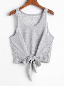 Autumn Elastic Standard Tie Others Scoop Short Casual Marled Knot Knit Tank Top