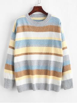Autumn Striped Elastic Full Drop Crew Regular Loose Casual Daily Pullovers Contrast Striped Crew Neck Loose Sweater