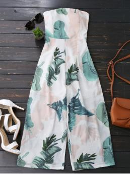 No Print Regular Casual Leaves Print Strapless Jumpsuit