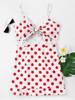 No Spring and Summer Polka Sleeveless Spaghetti Mini Bodycon Club and Night Sexy Front Bow Polka Dot Cami Dress