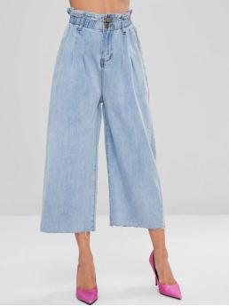 Fall and Spring Pocket Straight Ninth Light Streetwear Bleached High Waisted Wide Leg Jeans