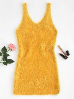Fall and Winter No Solid Sleeveless Plunging Tank Mini Bodycon Low Cut Fuzzy Knit Tank Dress