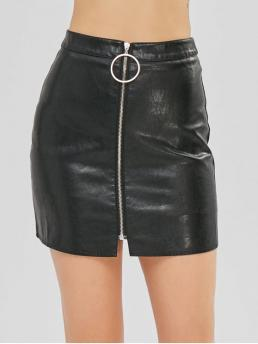 Fall and Spring Zipper Solid Bodycon Mini Daily Fashion O Ring Zip Faux Leather Skirt With Inner Shorts