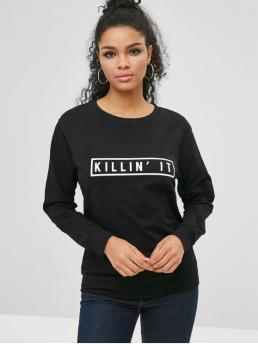 Autumn and Spring Letter Full Regular Round Sweatshirt Long Sleeve Comfy Letter Graphic Sweatshirt