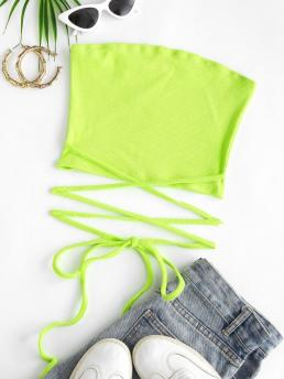 Ladies Cotton,polyester Solid Green Cute Tie-around Ribbed Midriff Flossing Bandeau Top