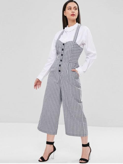 Fall and Summer No Backless and Button Striped Sleeveless Halter Capri Loose Fashion Casual Striped Shirred Wide Leg Jumpsuit