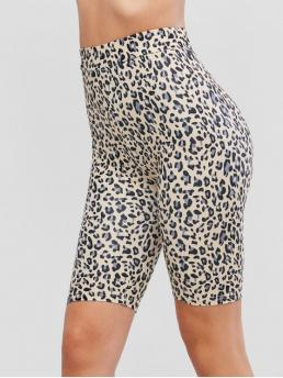Fall Short Leopard High Daily Casual Leopard Print High Waist Biker Shorts