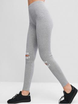 Fall and Spring Full Cut Letter Elastic High Daily Fashion Pull On Cut Out High Street Graphic Leggings