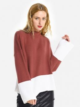 Shopping Brick-red Zan.style Loose Pullover Sweater