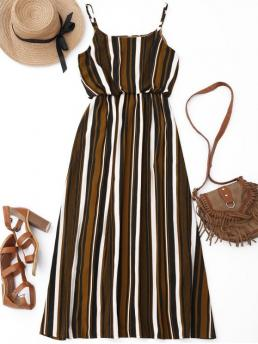 Summer No Striped Flounce Sleeveless Spaghetti Slip Ankle-Length Casual and Going Casual Striped Lined Maxi Dress
