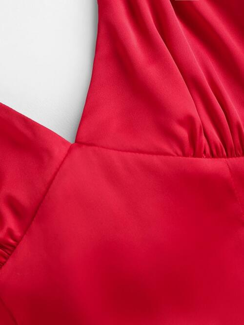 Trending now Red Solid Sleeveless Polyester,polyurethane Bow Tie Back Cutout Cami Dress
