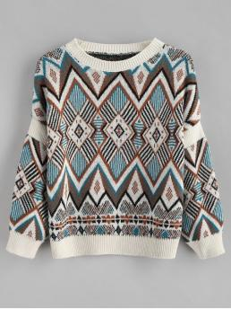 Autumn and Spring and Winter Argyle Elastic Full Drop Round Regular Regular Casual Daily Pullovers Diamond Pattern Knitted Sweater