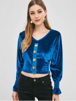 Autumn and Spring and Winter Button Solid Full Regular Elastic V-Collar Fashion Daily Shirred Buttoned Velvet Top
