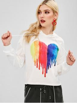 Autumn and Spring Heart Full Short Drop Hooded Hoodie Heart Painting Graphic Hoodie