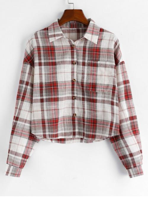 Autumn and Spring Pockets Plaid Full Drop Regular Shirt Fashion Daily and Outdoor Plaid Drop Shoulder Chest Pocket Shirt