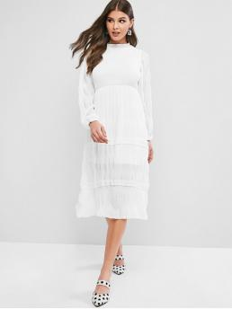 No Fall and Spring Solid Long Ruffled Mid-Calf A-Line Day Brief Ruffle Neck Smocked Long Sleeve Dress