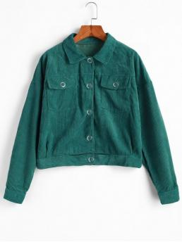 No Nonelastic Autumn and Spring and Winter Pockets Solid Single Shirt Drop Full Regular Wide-waisted Fashion Jackets Daily and Going Snap Button Flap Pockets Corduroy Jacket