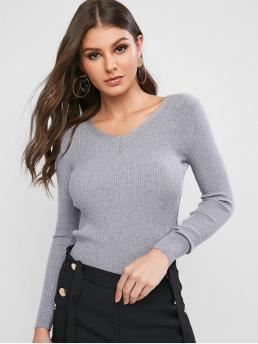 Autumn and Winter Solid Elastic Full V-Collar Regular Slim Fashion Daily and Going Pullovers Ribbed Slim Knitted V Neck Sweater