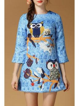 Summer No Animal 3/4 Mini Round Straight Cute Animal Pattern Round Collar 3/4  Sleeves Dress