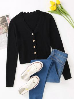 Full Sleeve Cardigans Cotton,polyester Solid Button up V Neck Crop Cardigan Fashion