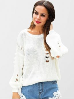 Autumn and Spring and Winter Beading and Ripped Solid Elastic Full Drop Crew Regular Loose Fashion Daily Pullovers Beaded Ripped Sweater