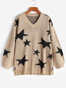 Autumn and Spring and Winter Slit Star Elastic Full Drop V-Collar Long Loose Fashion Daily Pullovers V Neck Star Graphic Slit Sweater