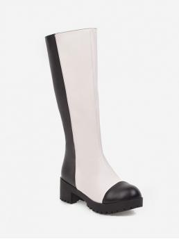 Trendy PU Slip-On Others 4CM Chunky Pointed Knee-High Fall and Spring Fashion For Two Tone Chunky Heel Knee High Boots