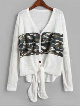 Autumn Tie Camo Elastic Full V-Collar High Loose Casual Daily Cardigans Camouflage Buttoned Knotted High Low Cardigan