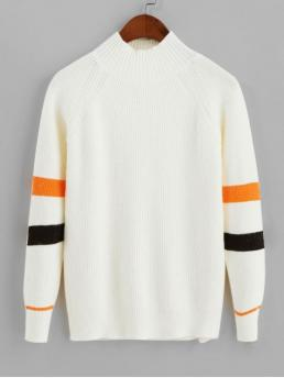 Autumn and Spring and Winter Striped Elastic Full Raglan Mock Regular Regular Fashion Daily and Going Pullovers Mock Neck Raglan Sleeve Stripes Panel Sweater