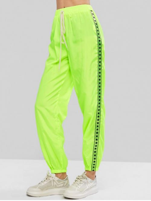 Fall and Spring Elastic Jogger Others Regular High Fashion Neon Tie Taped Star Graphic Windbreaker Jogger Pants