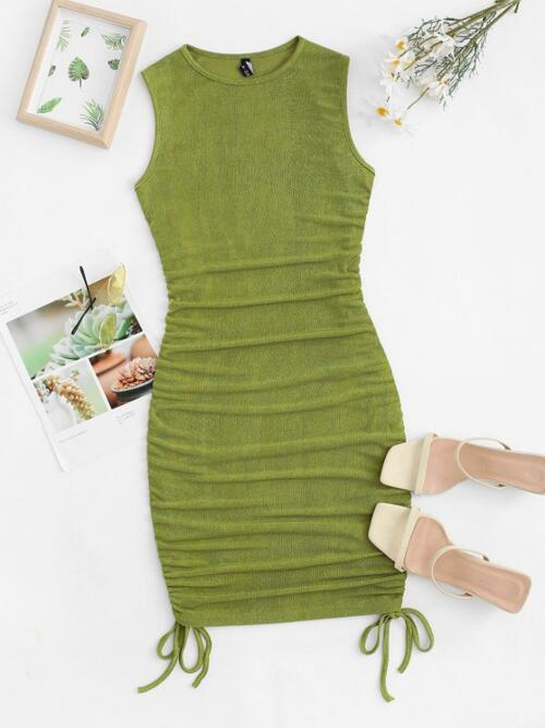 Light Green Solid Color Skinny Sleeveless Cinched Ruched Jersey Sale