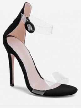 Suede Others Buckle Stiletto Ankle Daily Fashion For Clear Strap Super High Heel Sandals