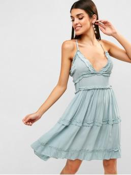 No Summer Nonelastic Solid Criss-Cross Sleeveless Spaghetti Knee-Length A-Line Day and Vacation Fashion Criss Cross Frilled Cami Dress