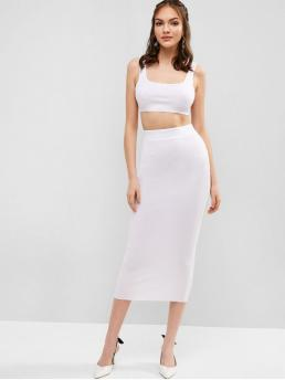 No Summer Solid Flat Elastic High Sleeveless Scoop Bodycon Sexy Casual and Club and Night Ribbed Bodycon Skirt Set