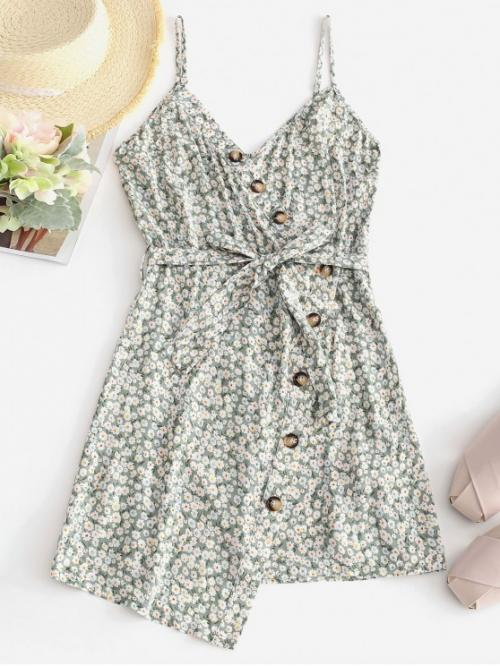 Yes Summer Nonelastic Floral Button Sleeveless Spaghetti Mini Asymmetrical Casual and Day Fashion Buttoned Overlap Floral Cami Dress