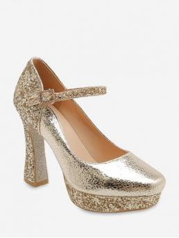 Summer Patent Round Closed Chunky Ankle-Wrap Party Fashion Pumps Sequins Decoration Chunky Heel Pumps