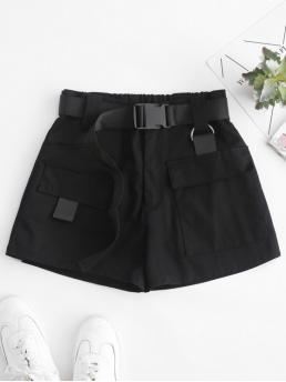 Autumn and Spring and Summer Yes Nonelastic Standard Pockets Solid Flat Zipper High Regular Fashion High Waisted D Ring Flap Pocket Shorts