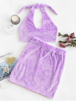 No Fall and Spring Solid Flat Elastic High Elastic Sleeveless Halter Bodycon Fashion Daily and Going Two Piece Fluffy Faux Shearling Top And Skirt Set