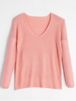 Solid Full V-Collar Casual Pullovers V Neck Loose Fit Pullover Knitwear