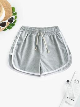 Womens Gray Others Regular Casual Waist Piping Dolphin Shorts