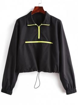 Autumn Zippers Others Zipper Turn-down Full Regular Wide-waisted Fashion Jackets Daily and Going Half Zip Drawstring Hem Pullover Jacket
