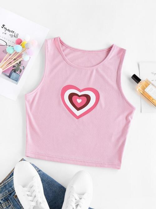 Pretty Polyester Heart Light Pink Sweet Ribbed Crop Tank Top