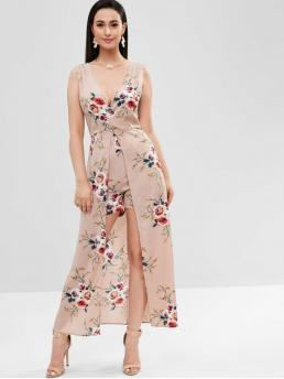 Fall and Spring and Summer No Floral Sleeveless V-Collar Regular Boho Daily Backless Floral Maxi Romper Dress
