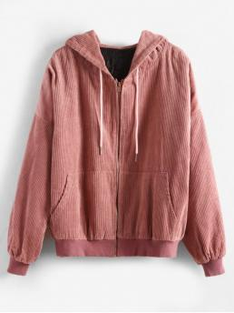 Solid Hooded Full Regular Wide-waisted Fashion Jackets Hooded Quilted Oversized Corduroy Jacket