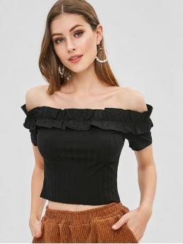 Summer Solid Short Off Fashion Frilled Ribbed Off The Shoulder Crop Top