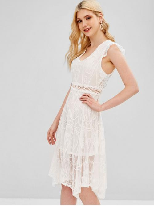 No Spring and Summer Solid Backless and Embroidery Sleeveless V-Collar Knee-Length A-Line Bridesmaid and Cocktail Elegant Embroidered Open Back Dress