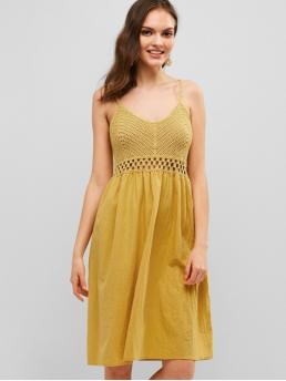 No Summer Nonelastic Solid Sleeveless Spaghetti Knee-Length A-Line Day Fashion Openwork Crochet Panel Cami Dress