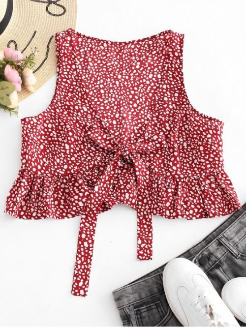 Summer Standard Print Plunging Short Sexy Speckled Plunging Peplum Tank Top